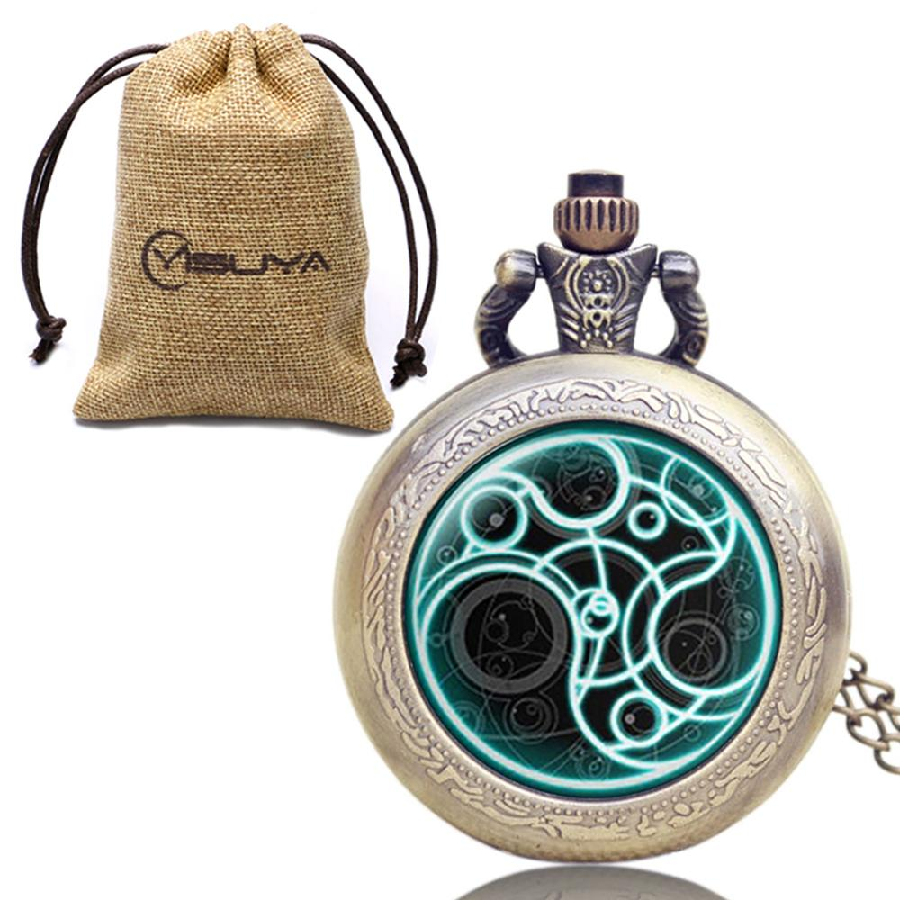 Vintage High Quality Men Women Quartz Pocket Watch Doctor Who Pattern Glass Dome Fob Clock Pendant With Necklace Gift