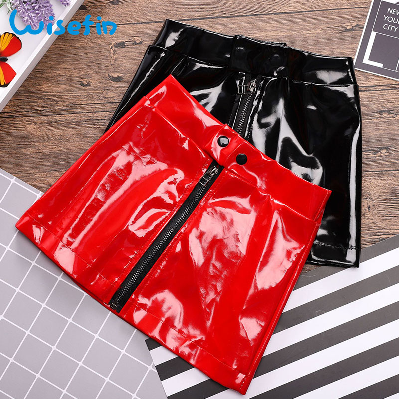 Wisefin Pu Leather Skirt Mini With Zipper In Front For Kids Red Black Zipper Leather Clothes Kids Girl Fahion Toddler Girl Skirt red cute high waisted leather mini skirt