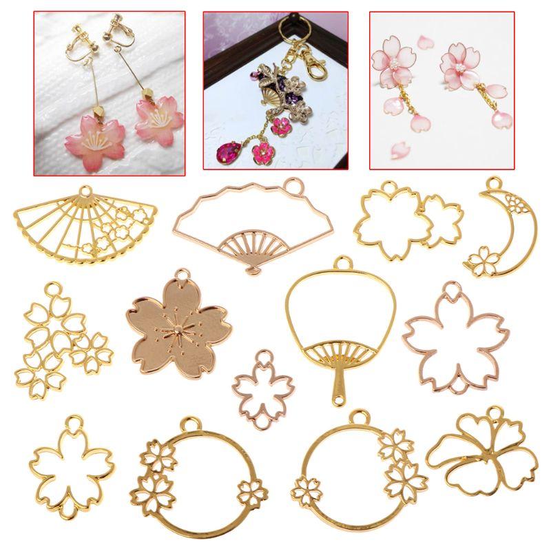 13 Pcs/Set Flower Metal Frame DIY Epoxy Resin Crafts UV Resin Jewelry Making Pendant Holder Hollow Fan Floral Shape Dry Flower F