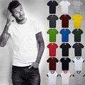 2016 verano hombres de la marca de manga corta 100% algodón Camiseta de los hombres que basa la camisa del color sólido Del O-cuello Ocasional Superior Masculina y camisetas