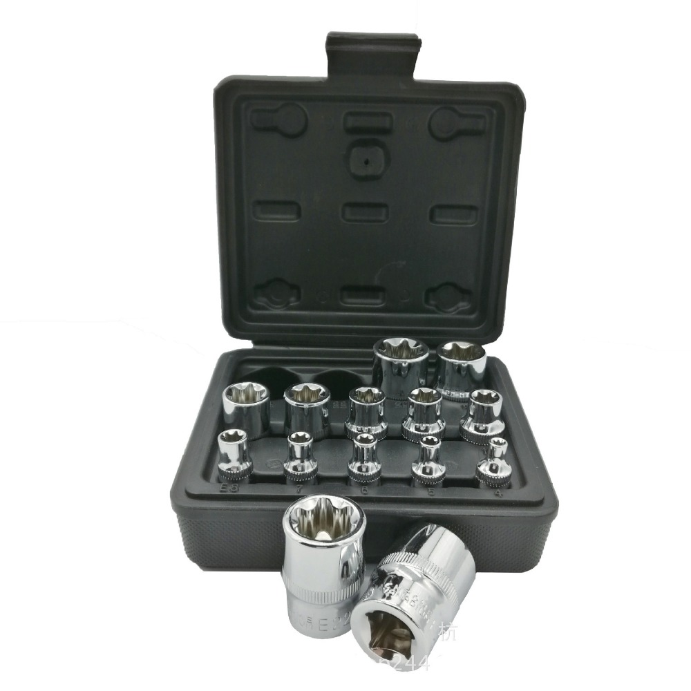 Milda New 14pcs/set E Torx Star Female Bit Socket Set 1/2 3/8 1/4 Drive E4 - E24 repair tool hand tool set high quanlity
