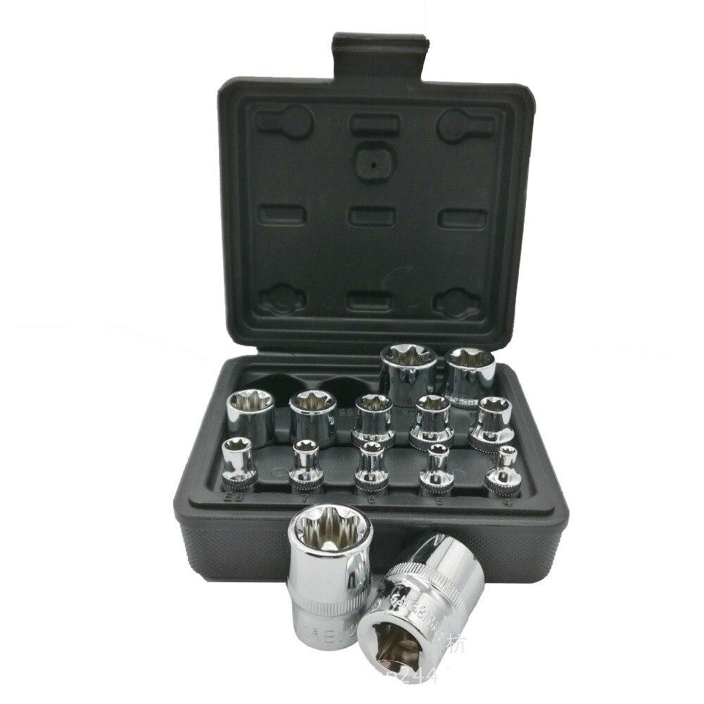 Milda Nouveau 14 pcs/ensemble E Torx Étoiles Femelle Bit Socket Set 1/2 3/8 1/4 Drive E4- e24 outil de réparation d'outils à main set de haute quanlity