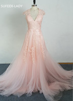 Vestidos De Novia Deep V Cap Sleeves Pink Wedding Dresses UK Lace Applique Tulle Sheer Cheap
