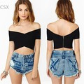2016 Nuevas Mujeres Del Verano de La Camiseta Sexy Hombro Estilo Casual Tops Mujer Ladies Short Blusas Más El Tamaño 29