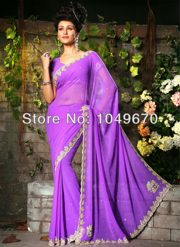 Outstanding Workmanship 2014 V-neck Lavender Chiffon Wedding Saree Short Sleeves Floor Length Kaftan Evening Dress Beading N421