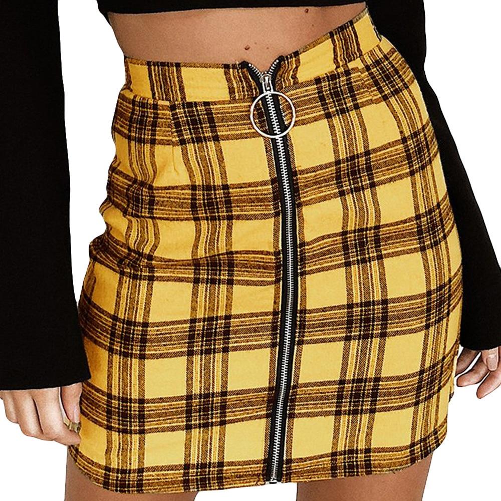 JAYCOSIN  Womens Sexy Cotton Party Plaid Zipper Wooden Ear Slim High Waist Hip Short Empire Mini Skirt Pencil Red Yellow Z1114