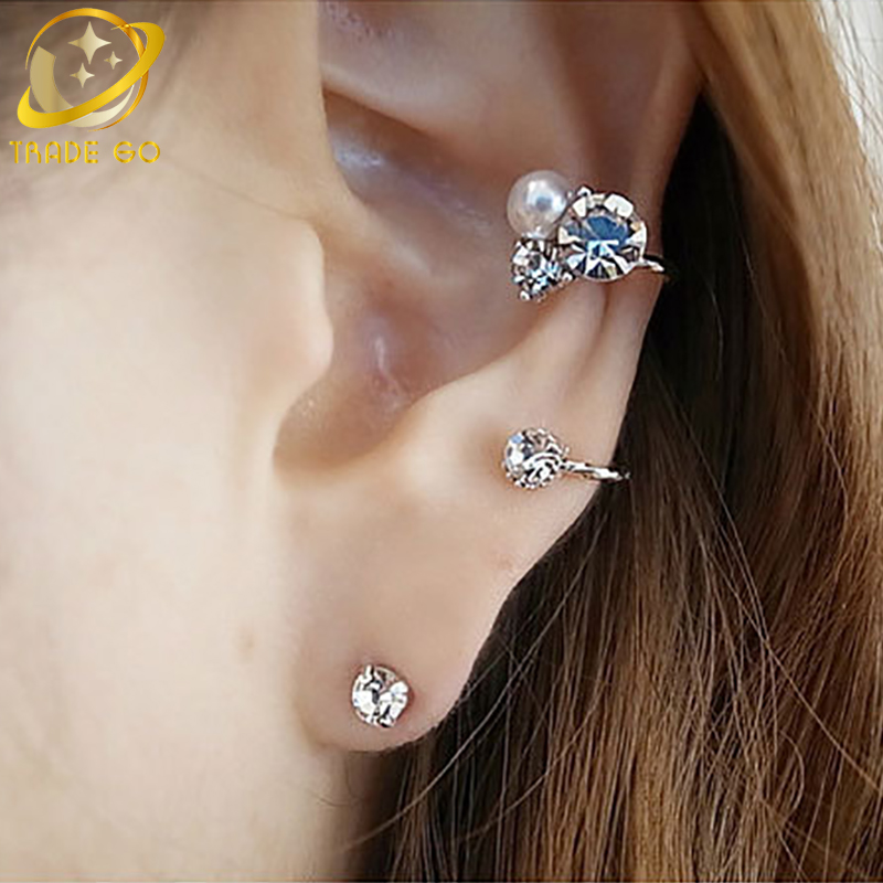 ear cuff gold silver plated clip on earrings fashion jewelry orecchini women heart ear jacket wrap earcuff brincos золотые серьги по уху