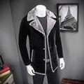 Very Good Quality 2016 New Winter Men's Woolen Jacket Solid Long Design Trench Coat Thicken Velour Overcoat 4XL 5XL #99