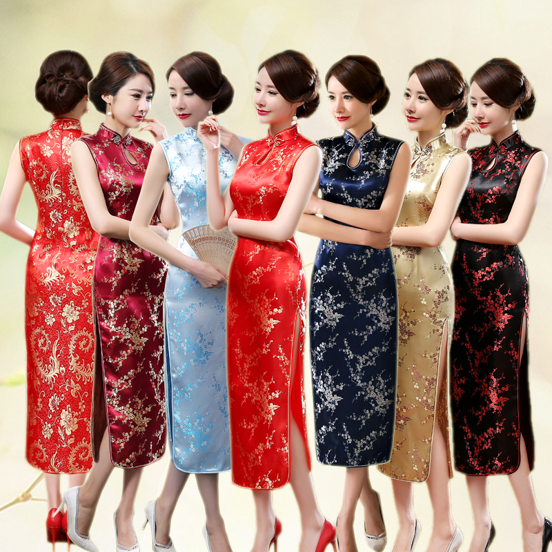 Sexy Women Sleeveless Dress Slim Cheongsam Novelty Vintage Chinese Mandarin Collar Qipao Evening Party Dress Vestidos