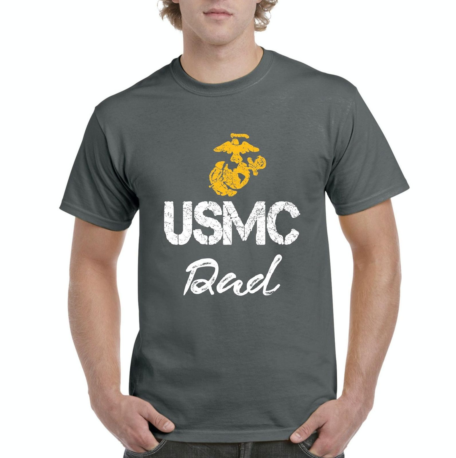 2018 Summer Fashion Hot Sale Men T Shirt USMC Dad Seal The Proud U.S. Marines Father Fight to Win T-Shirt