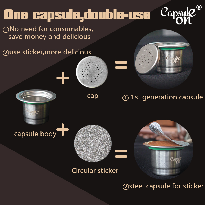capsulone Refillable Reusable Stainless Steel Coffee Capsulas Compatible with Nespresso Machines Maker 3 Pod 120 Seals in Coffee Filters from Home Garden