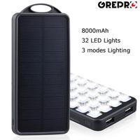 Solar Power Battery Rechargeable 8000mAh Solar Power Bank with LED Lamp,External Solar Charger Fast Charging for Smart Phones