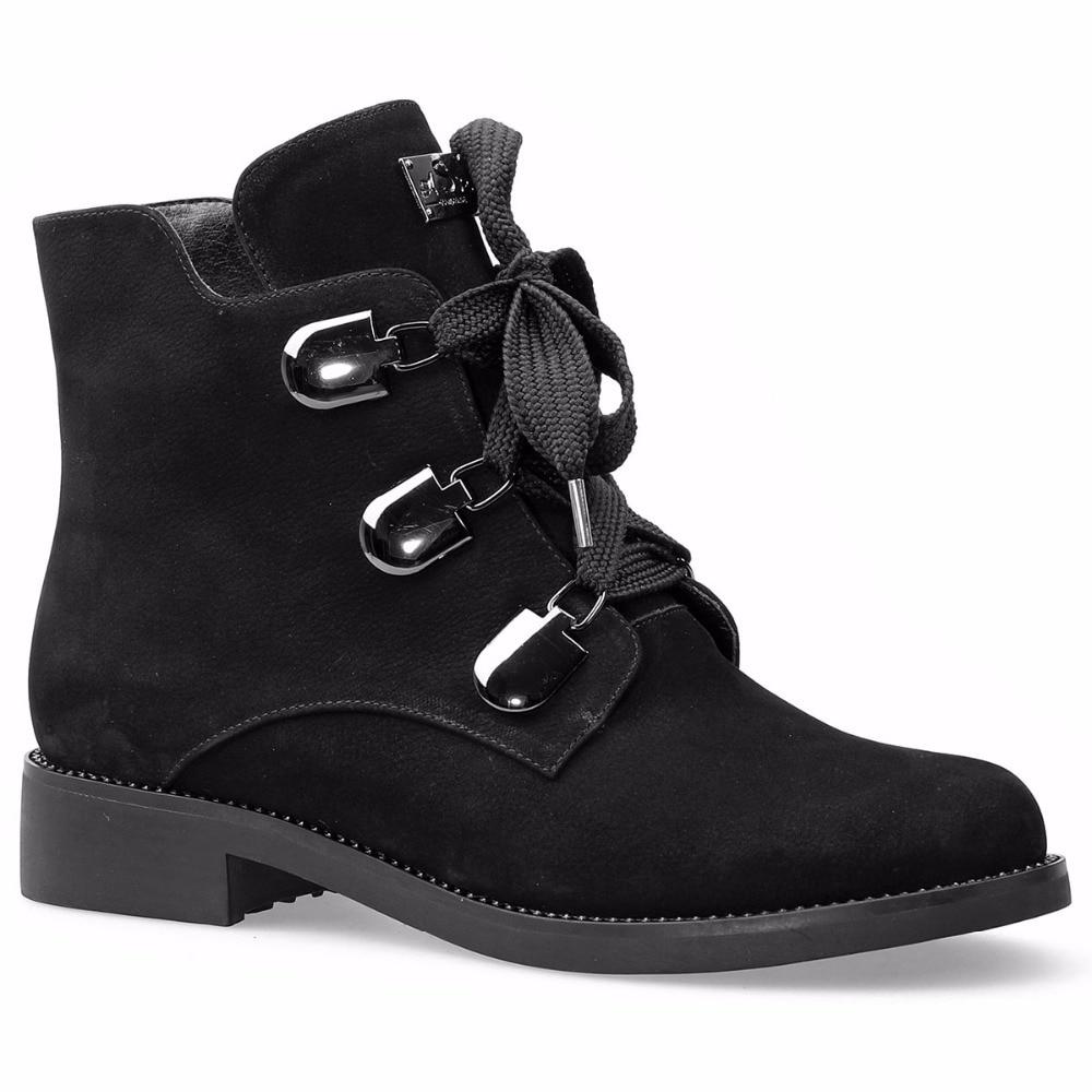 Botas Invierno Caliente Auténtico Mebi Nobuck Zapatos Felpa Cuero Botines Negro Encaje Moda Mujeres up Hebillas Calzado xRz8R