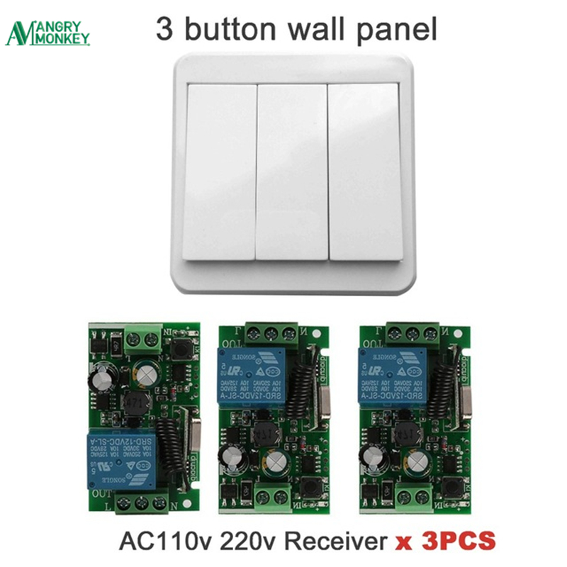 433Mhz 110V 220V 1CH Wireless Remote Control Switch Relay Receiver Module & Remote Controls Wall Panel RF Transmitter dc24v 8ch rf wireless remote control switch 8 receiver