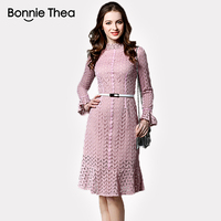 High Quality Black Pink Lace Long Sleeved A Line Dress Fashion Sexy OL Style Party Large