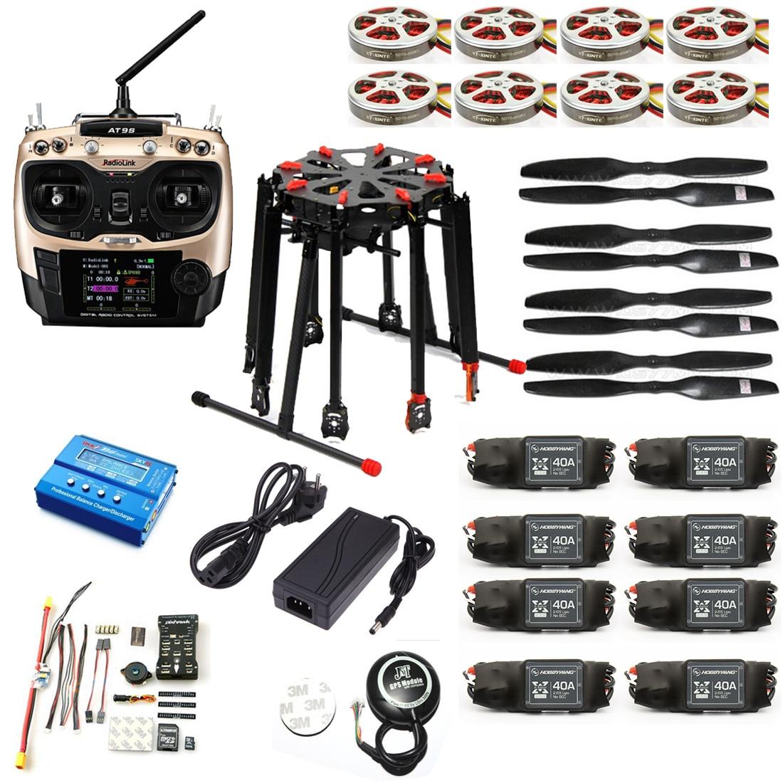 DIY GPS Drone Tarot X8 TL8X000 8-Axis Folding Frame 350KV 40A PX4 32 Bits Flight Controller Radiolink AT9S Transmitter f11270 tarot x8 8 aixs umbrella type folding multicopter uav octocopter drone tl8x000 with retractable landing gear
