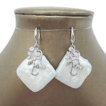 FREE SHIPPING 100% nature freshwater pearl earring,925 silver hook,AAA Rhombus Pearl, 26-29 mm coin square shape baroque