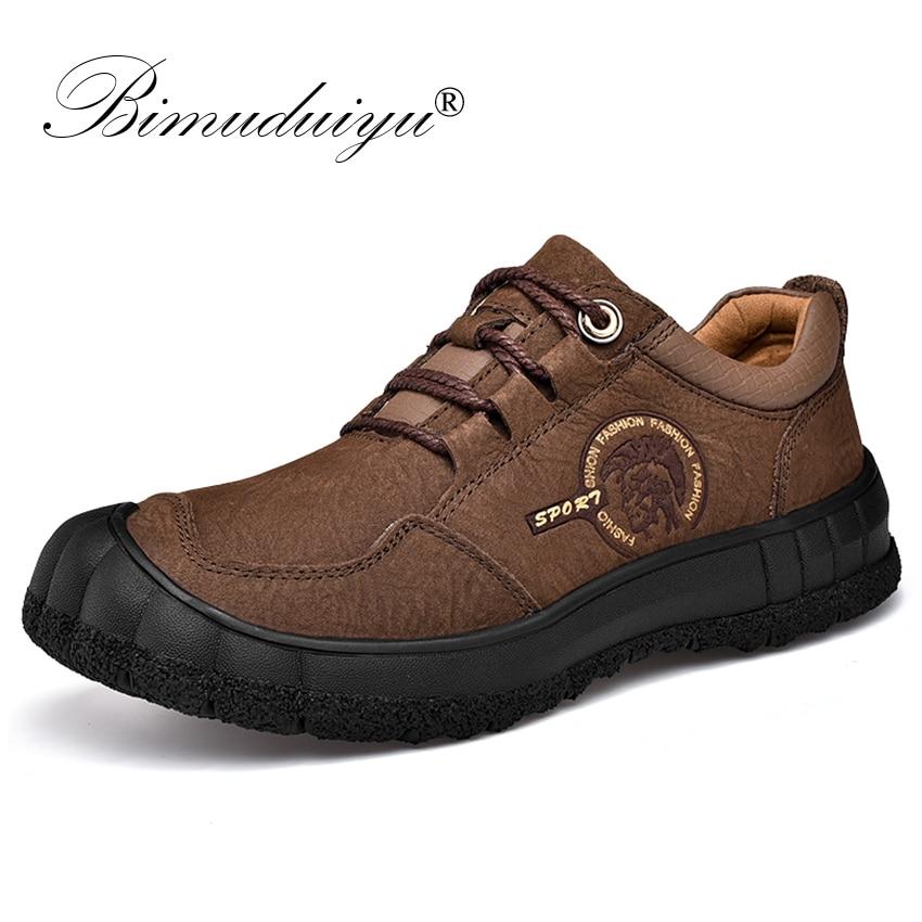 Bimuduiyu 정품 가죽 남성 신발 수제 최고 품질의 플랫 남성 캐주얼 스니커즈 남성 걷기 편안한 미끄럼 방지 신발-에서옥스퍼드화부터 신발 의  그룹 1