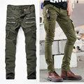 2017 men jeans moto designer army green biker jeans straight slim fit stretch denim skinny jeans mens trousers Military Pant