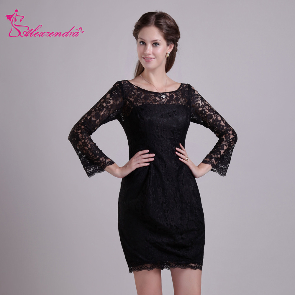 Alexzendra Black Lace Long Sleeves Scoop Neck Simple Mini   Prom     Dresses   Simple Special Party Gowns