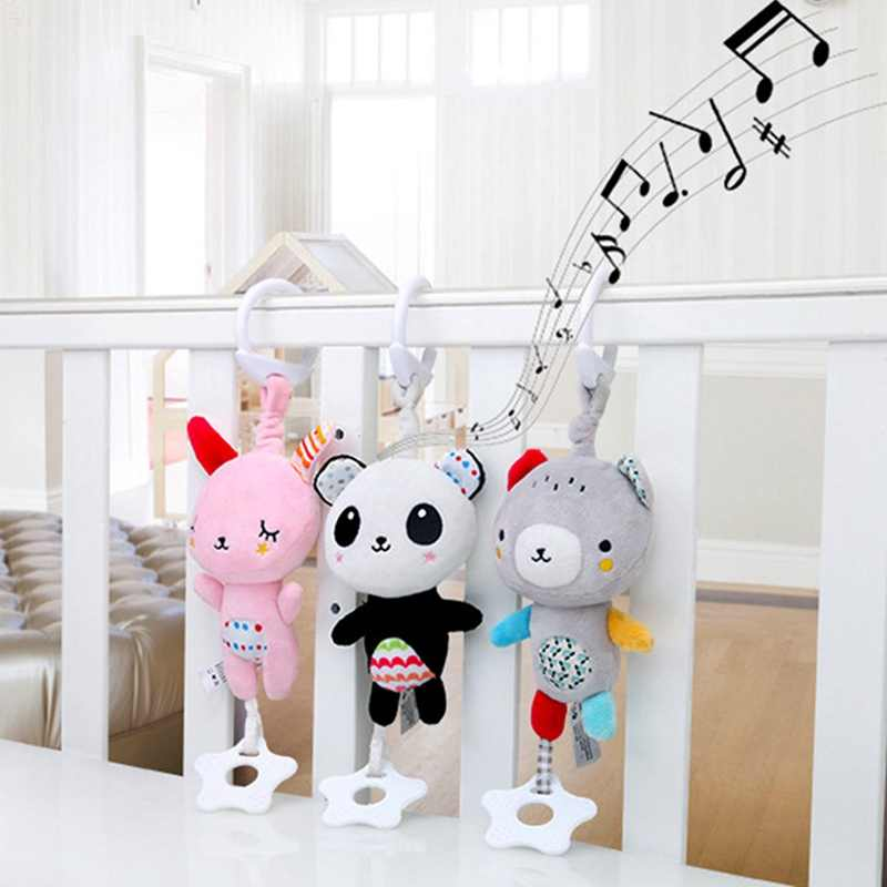 Baby Animals Musical Rattles Mobile Plush Doll Toys Newborn Infant Stroller Lathe Crib Bed Hanging Cute Appease Toy Bebe