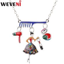 WEVENI Statement Enamel Alloy Comb Hair Dryer Make Up Girl Necklace Pendant Collar Fashion Jewelry For Women Ladies Gift Bijoux(China)