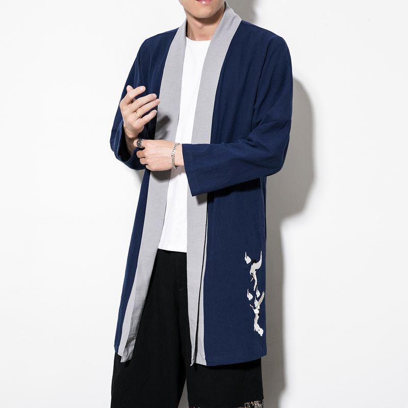 2019 Spring Men's Casual Long Sleeve Trench Male Men's Large Size Hanfu High end Boutique Tang Suit Vintage Cheongsam Men 5XL