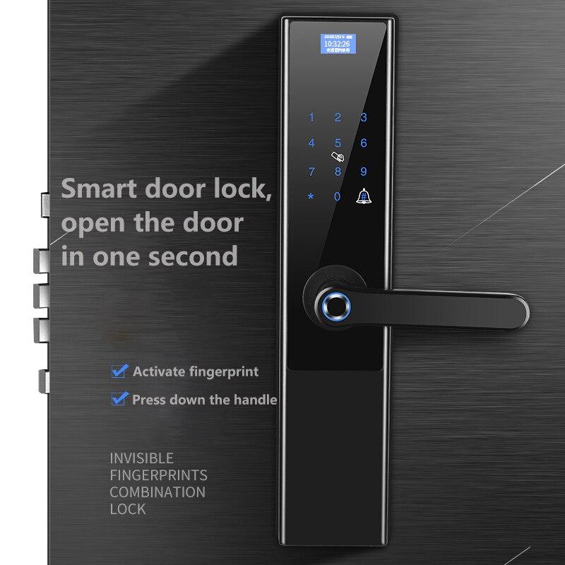 Serrure d'empreinte digitale noire serrure de porte intelligente serrure antivol de porte en verre automatique WIFI mot de passe électronique serrure de porte à la maison