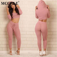 MCCKLE 2018 Fashion Cotton Two Piece Set Club Wear Clothing Knitted Sexy Crop Top And Pencil