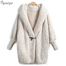 V-neck Loose Casual Jacket Coat Single Button Winter Wool Blends Warm Coat Women Ladies Coats Jackets White Cotton Elegant 2017