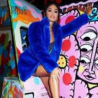 Fur Coat Winter Woman Blend Overcoat 2018 Fluffy Faux Fur Warm Outwear Coat Long Sleeve Jacket Pockets Cardigan Casaco Feminino