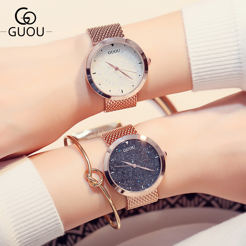 Luxury GUOU Pretty Bling Stars Full Stainless Steel Quartz Wristwatches Wrist Watch Bracelet for Women Ladies Girls Rose Gold
