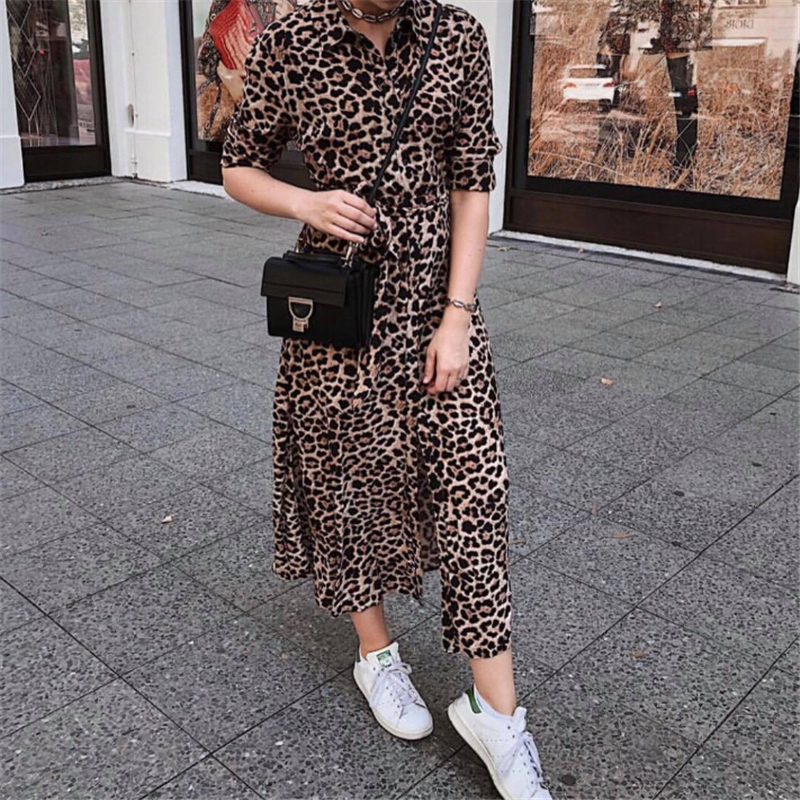 Women Dress Autumn 2019 Ladies Leopard Print Dresses Sexy Women V Neck Long Sleeve Midi Dress Womens Dresses Fall Evening Party 4