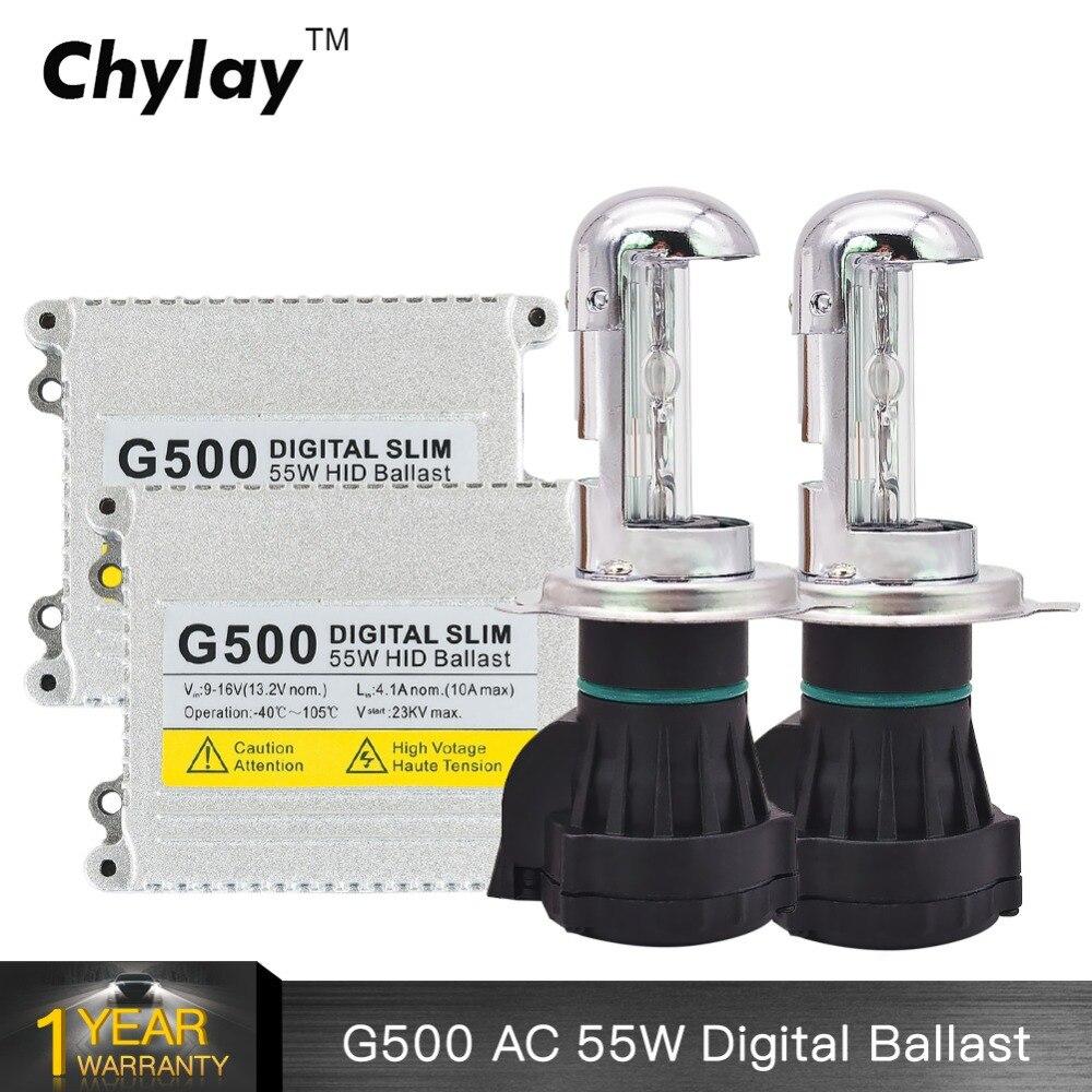 Un ensemble H4 xénon HID Kit bi-xénon lampe haute basse voiture ampoule AC 55 W numérique HID Ballast 4300 k 5000 k 6000 k 8000 k kit Xenon h4