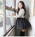 Frete Grátis Novo Modelo Completo manga Outono Inglaterra Estilo Polka Dot Vestido Da Menina
