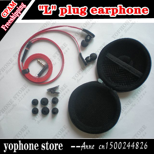 """""""L"""" Plug Handsfree 3.5mm In-ear Earphone For MP3/MP4/ DJ Headphone with 6 Earbuds and Carry Case,Free shipping"""