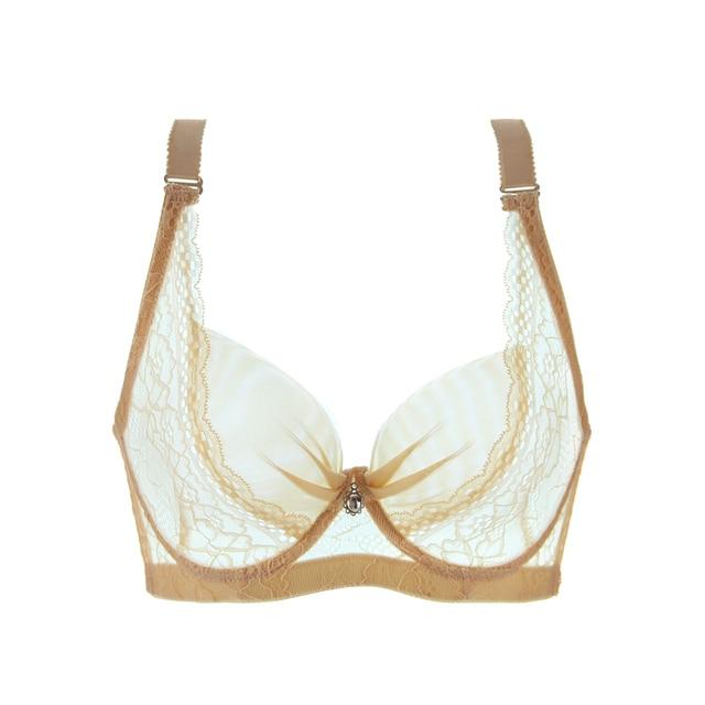2016 New Brand Women Transparent Bra Plus Size Lace Bra Brief Sets Sexy Lingerie Bikini Intimates Set 34-44 B C D Cup