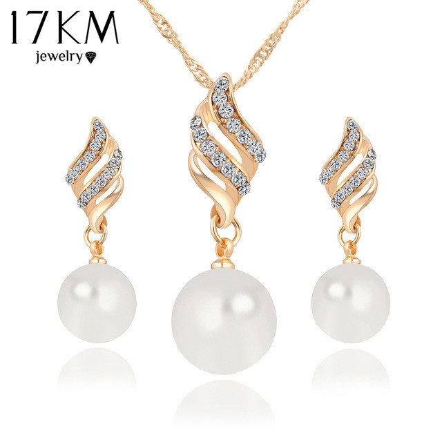 Women Fashion Crystal Simulated Pearl Gold Jewelry Set