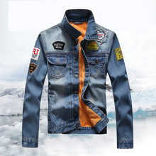 2017 Men's New Casual Jacket Fashion Jeans Male Multi-pocket Mandarin Collar Velvet lining Men Slim Jean Jackets(China)
