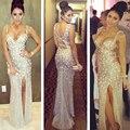 Sparkly Lantejoulas Prom Pedrinhas Alta Slit Frisada Vestidos Sexy Keyhole Voltar Mermaid Prom Dress For Party RM63