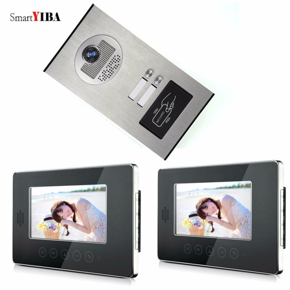 SmartYIBA Home 2 Apartment Video Intercom For a Country House+Rfid IR Camera With 2 Monitors Video intercom system