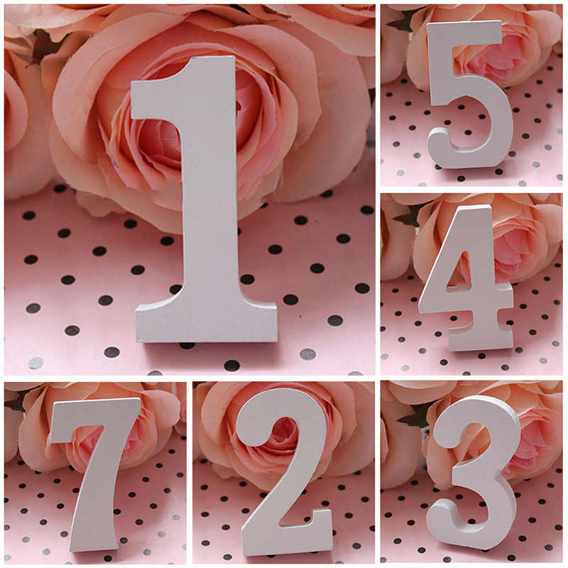 1Pcs White Wooden Numbers Plate Freestanding DIY Wedding Decoration Cute Table Numbers Party Decoration