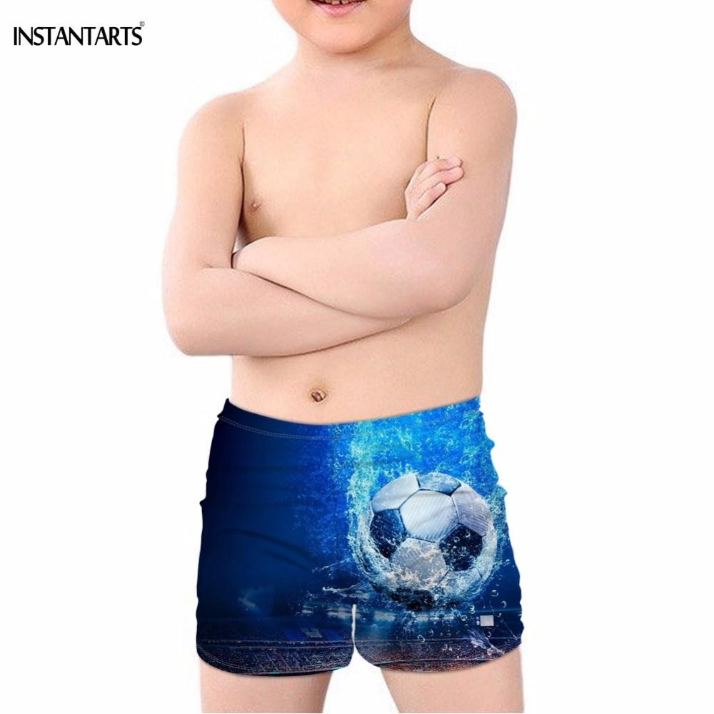 INSTANTARTS Ice/Fire Football Soccer Print Boys Summer Swimming Trunks Bathing Beach Swimsuits Breathable Blue Children Swimwear