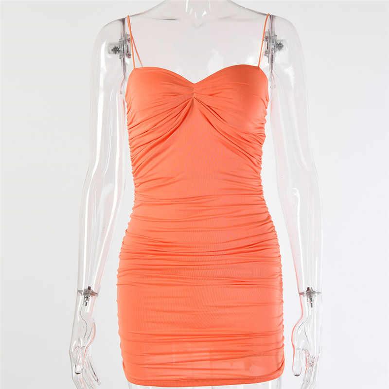 Женское короткое облегающее платье Sibybo, мини-платье в складку без рукавов с открытой спиной на тонких бретельках для вечеринки и клуба на лето