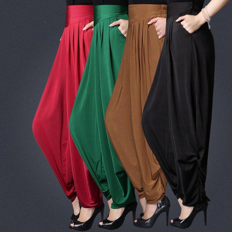 woman Summer Plus Size Elastic Waist   Wide     Leg     Pants   Pure Color Radish   Pants   Loose trousers High waist Haren   Pants   Lantern   Pants