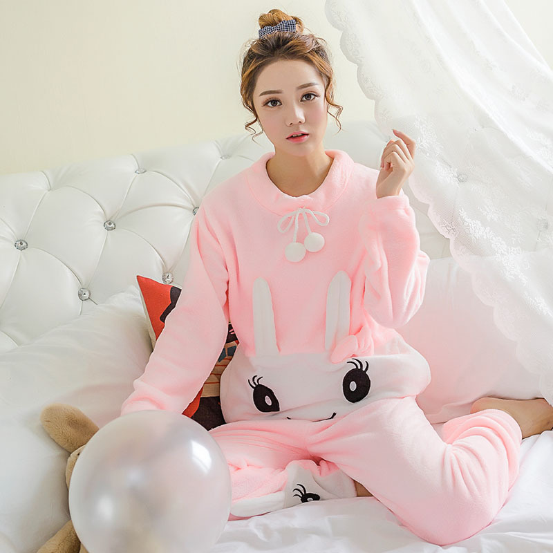 Pajama   Female Winter Thick Flannel Warm   Pajama     Set   Flower Print Long Sleeve Full Trousers Two Piece 2018 Top Fashion