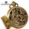 2017 New Bronze Steel Vintage Retro Steampunk Skeleton Designer Dragon Phoenix Mechanical Hand Wind Pocket Watch
