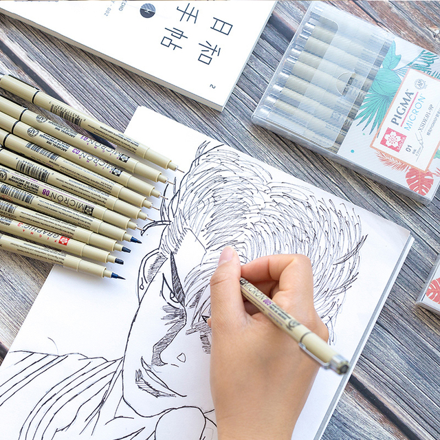 Markers Set Pigma Micron Pen Soft Brush Drawing Painting Waterproof Pen 005 01 02 03 04 05 08 1.0 2.0 3.0 Brush Art Markers 5