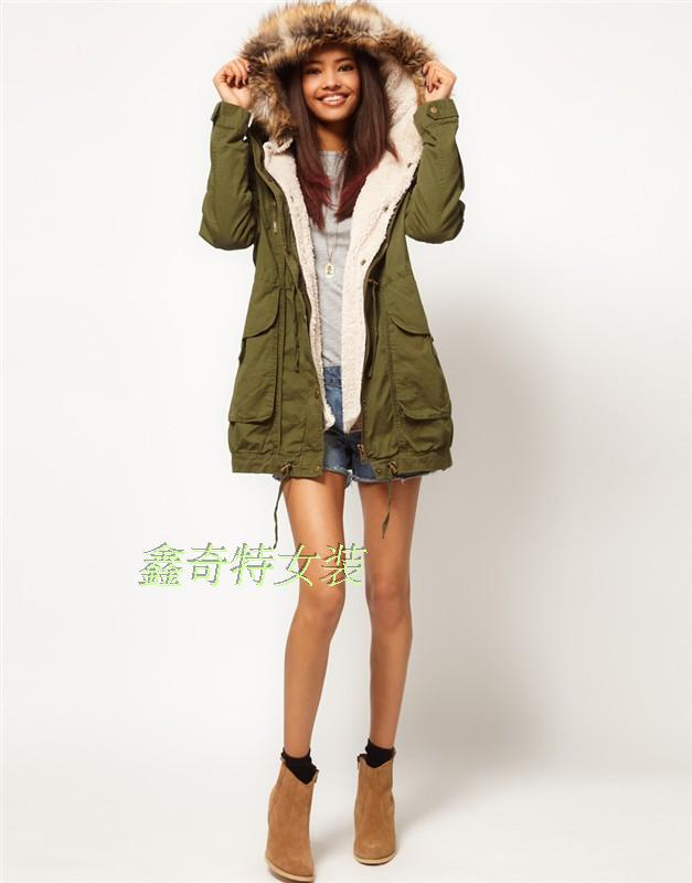 2013 New Winter Coat Women Cashmere Real Fur Wool Army Green Long Coats For Women Brand Designer Jacket With Cap H789
