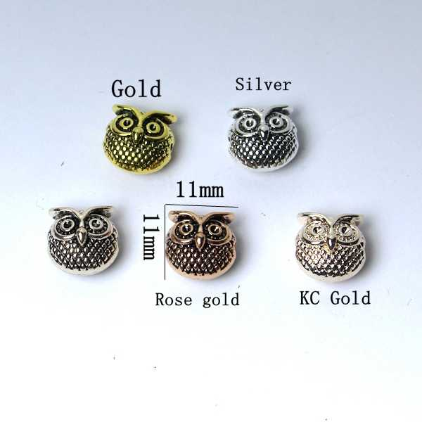 10 pieces of metal charm beads owl jewelry looking DIY hand bracelet accessories